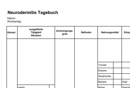 Neurodermitis-Tagebuch